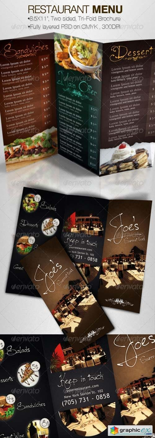 Tasty Restaurant Menu Tri-Fold Brochure