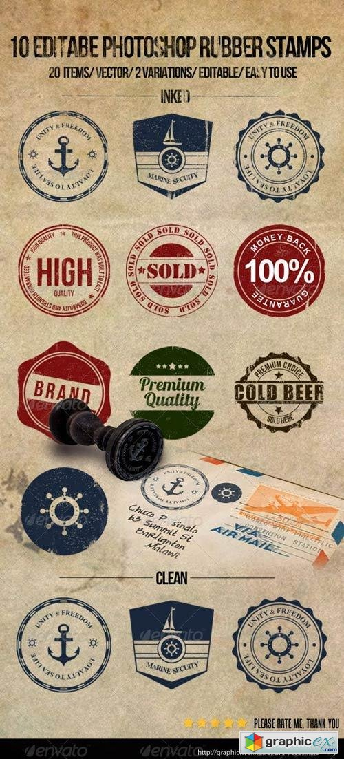 10 Editable Photoshop Rubber Stamps