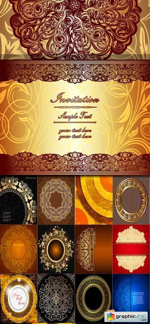 Golden circles with vintage ornament backgrounds, 25xEPS