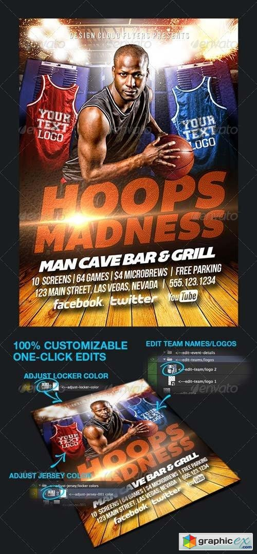 Hoops Madness College Basketball Flyer Template
