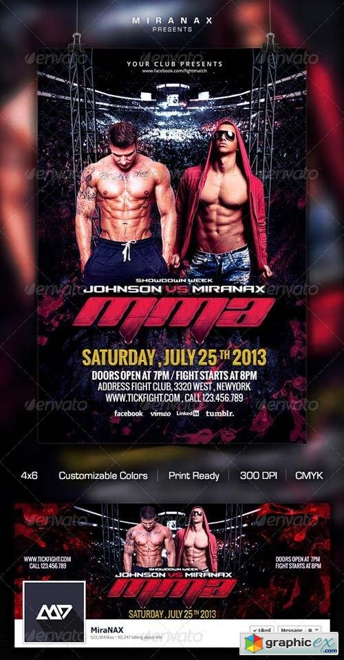 Fight  Mma  Ufc Night Flyer Template  Free Download Vector Stock