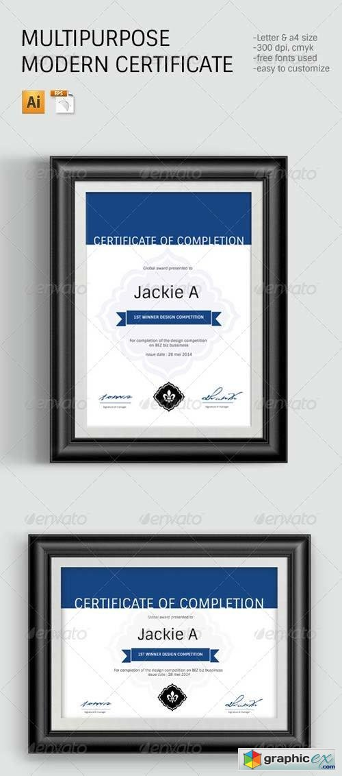 Modern Clean Certificate Template Free Download Vector Stock