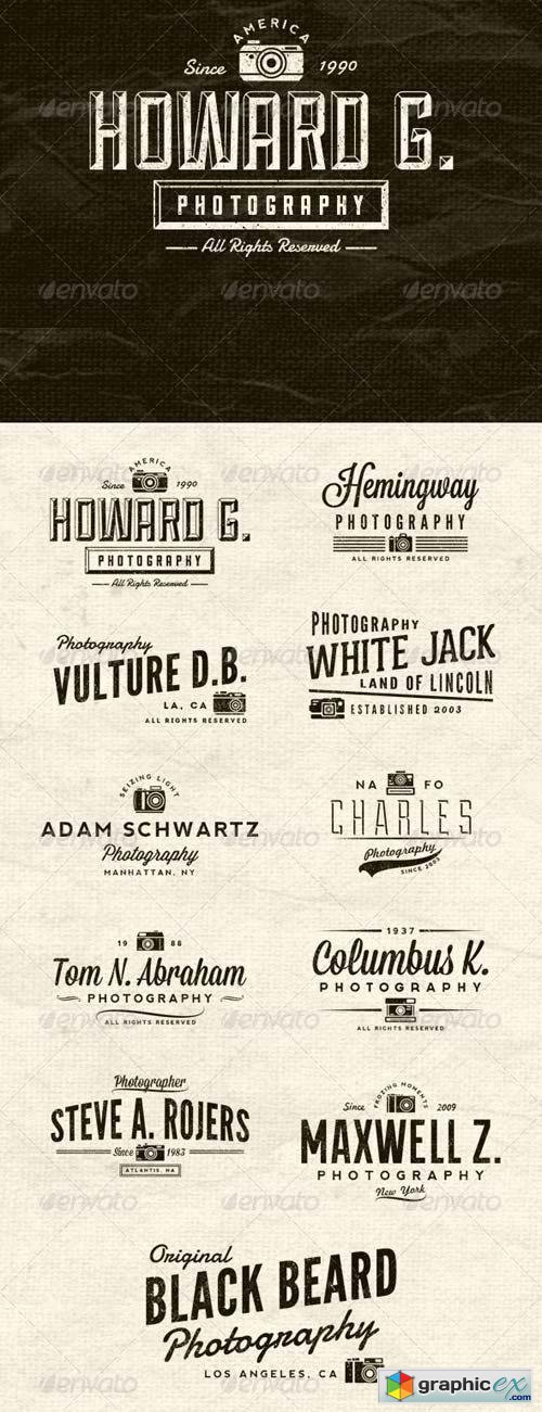 Photographer Vintage Insignias Volume 1