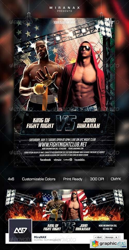 MmaUfc  Showdown Flyer Template  Free Download Vector Stock Image