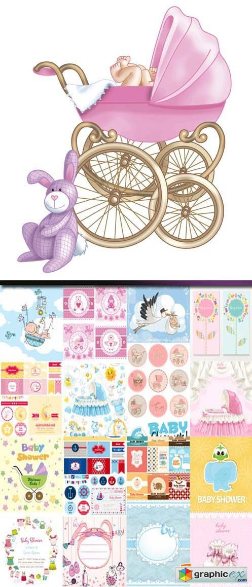 Baby shower cards, 25xEPS