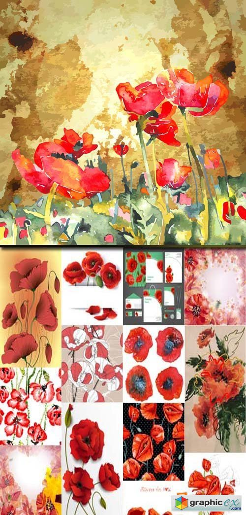Poppies cards and banners illustrations, 25xEPS