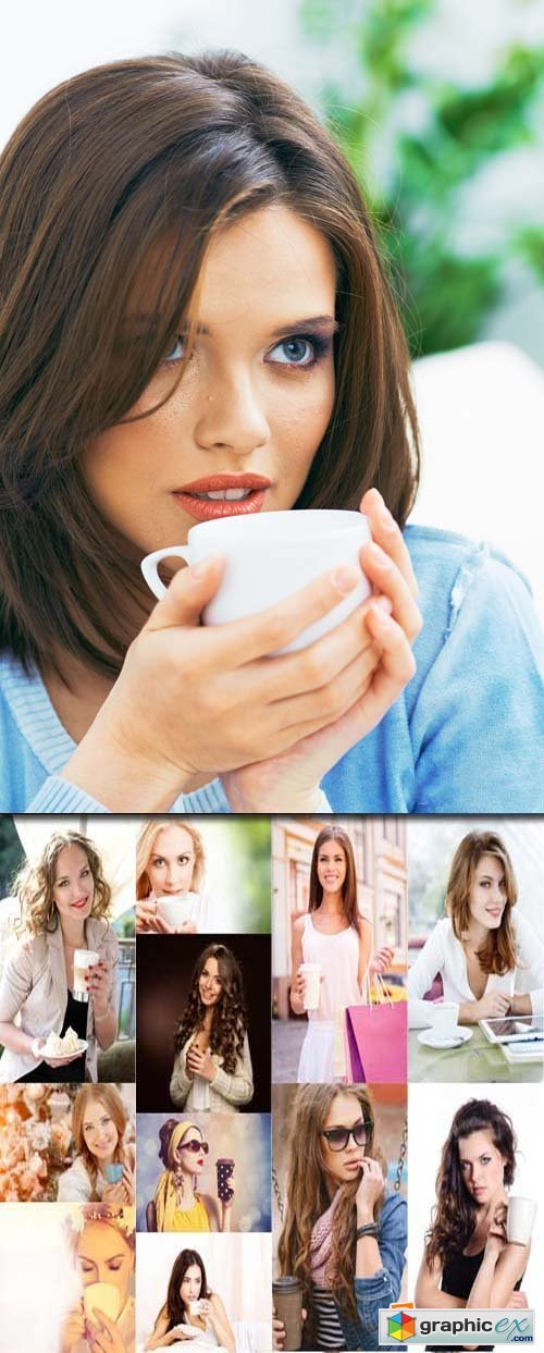 Beautiful woman with cup of coffee, 25xJPG