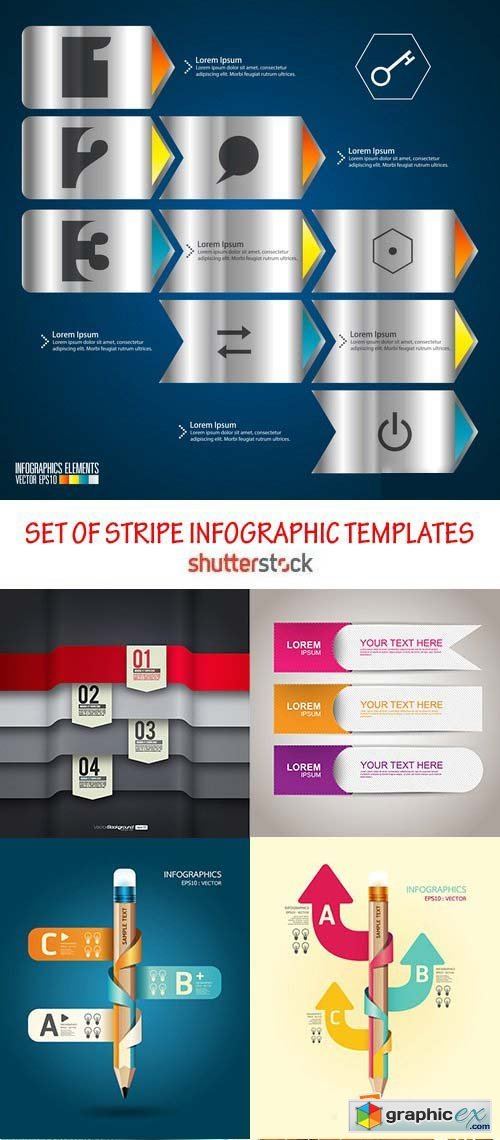 Amazing SS - Set of stripe infographic templates, 25xEPS