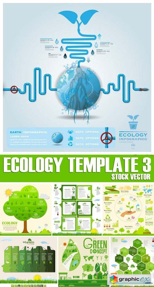 Stock Vectors - Ecology template 3, 25xEPS