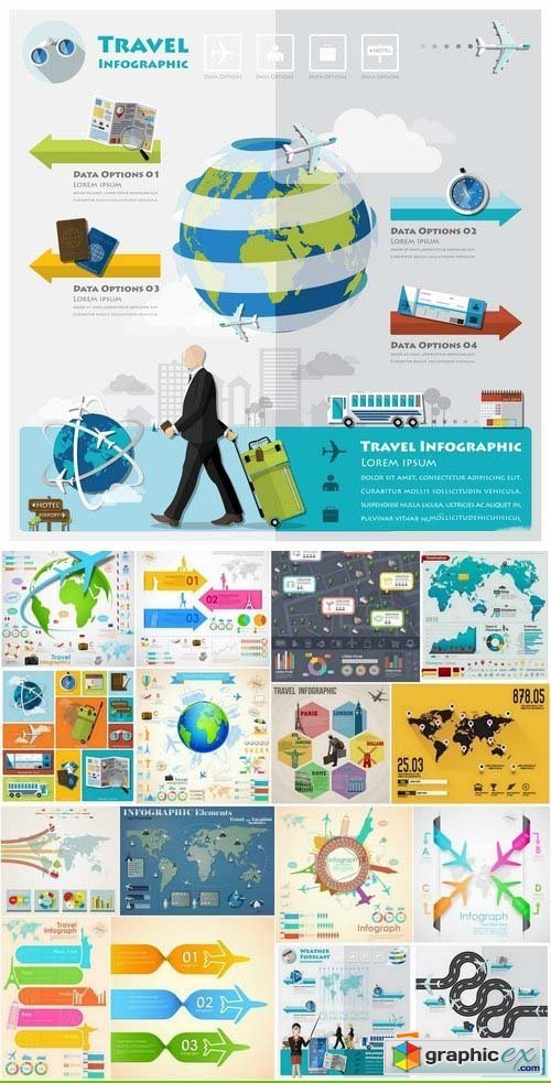 Infographics elements travel concept 25xEPS