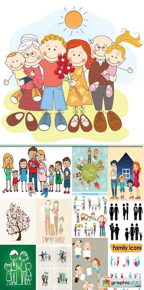 Family vector illustration in cartoon style, 25xEPS