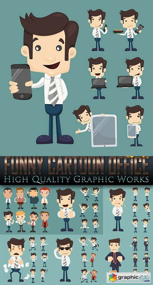 Funny Cartoon Office 25 EPS