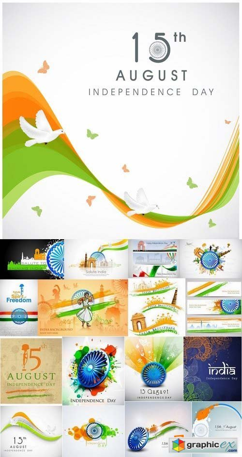 India Independence day template design 25xEPS
