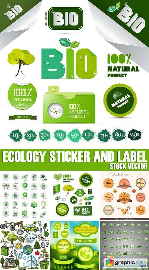 Stock Vectors - Ecology Sticker and label, 25xEPS