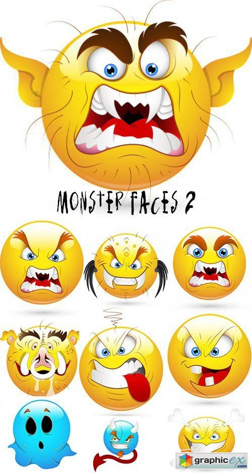 Vectorious Monster Faces 2