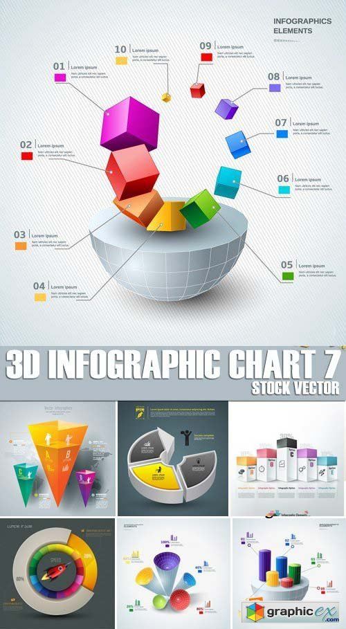 Stock Vectors - 3D Infographic Chart 7, 25xEPS