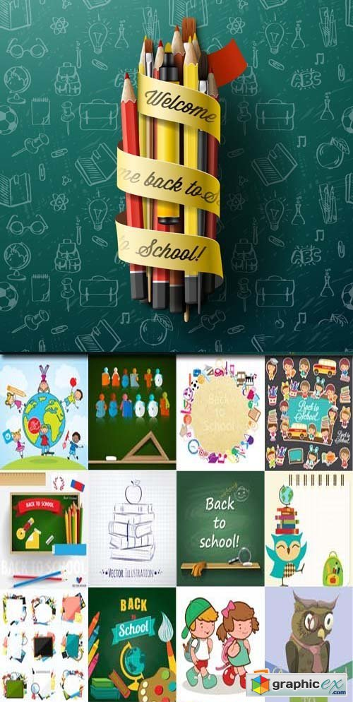 Back to school backgrounds and banners illustrations3, 25xEPS