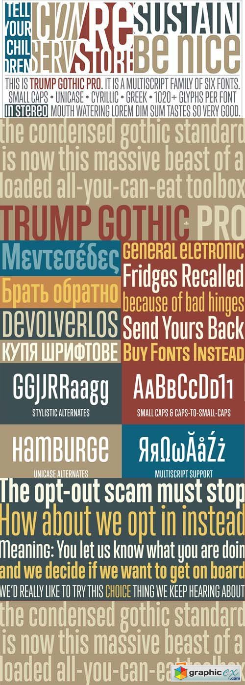 Trump Gothic Pro Font Family - 66 Fonts 240$