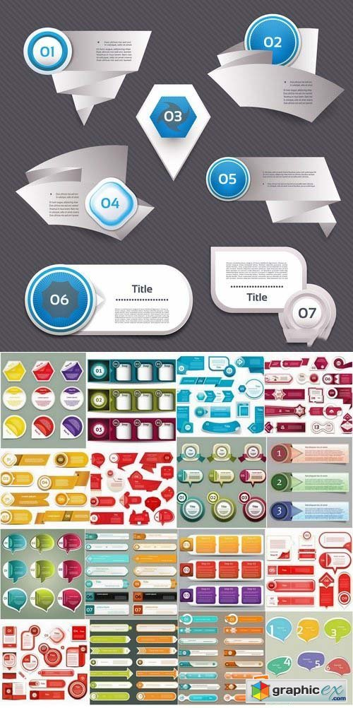 Infographic banners and bubbles 25xEPS