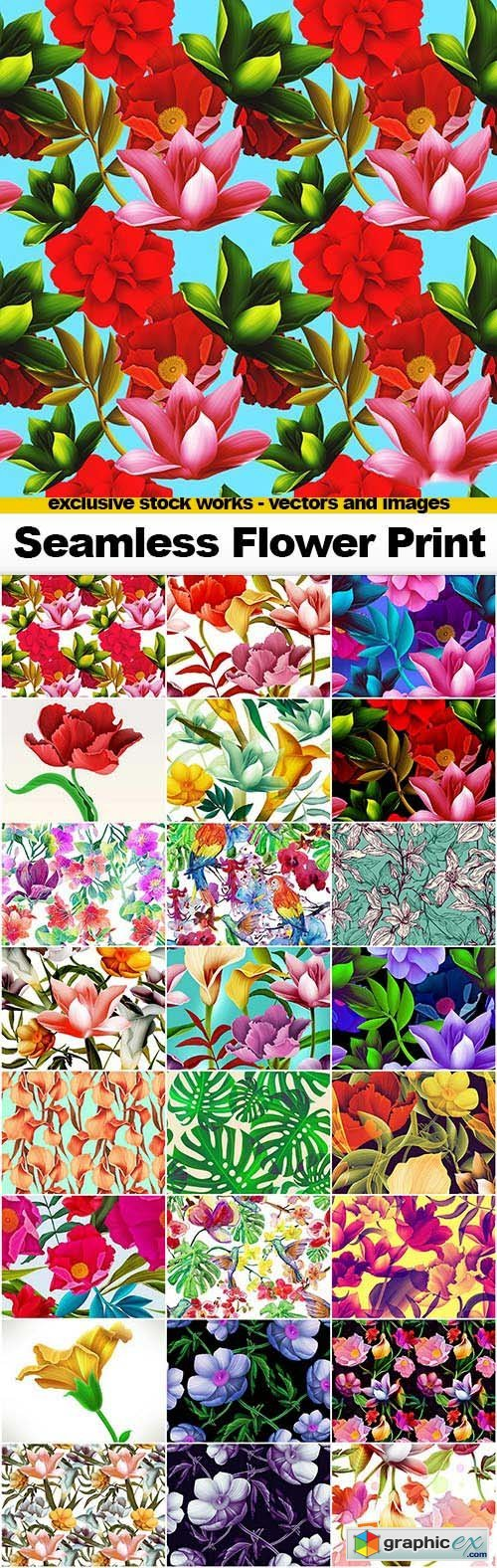 Seamless Flowers Prints - 25x JPEGs