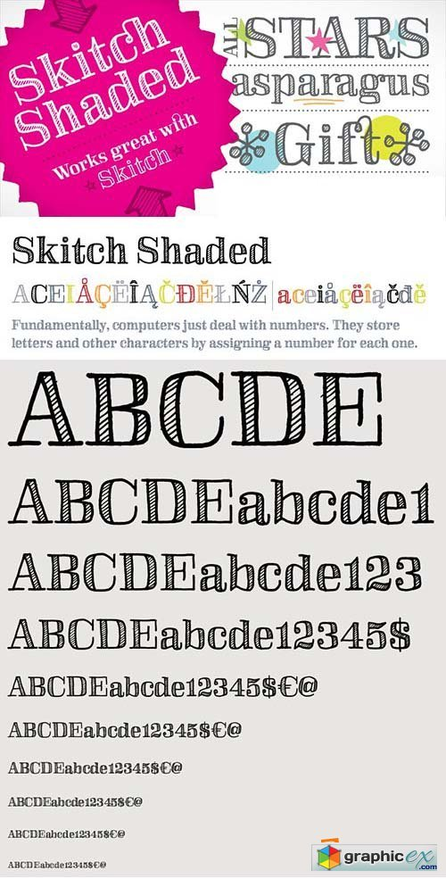SkitchShaded Font - 1 Font $15