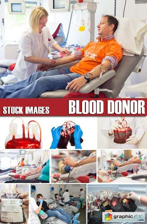Stock Photos - Blood donor, 25xJPG