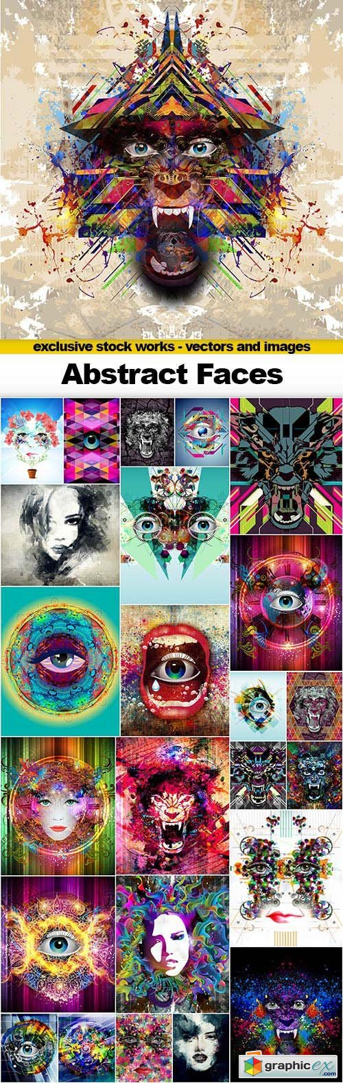 Abstract Faces - 25x JPEGs