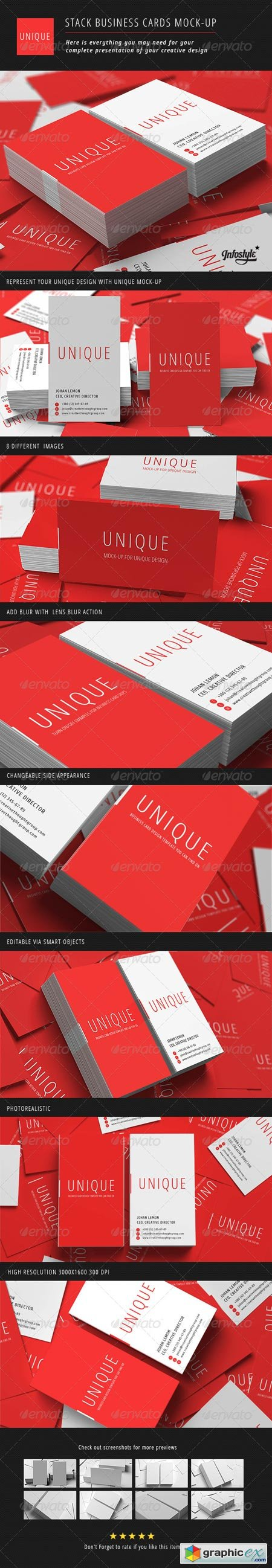 Stack Business Cards Mock-Up 3063488
