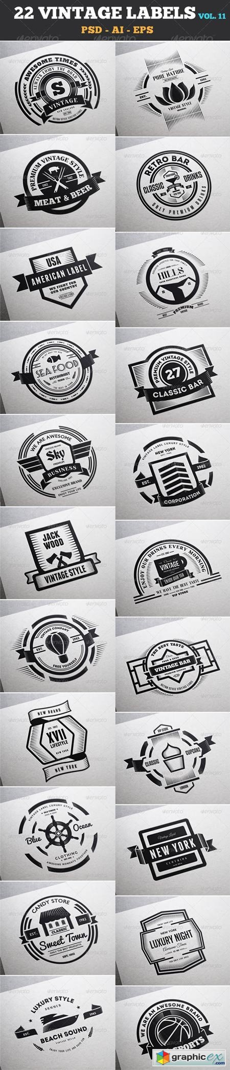 22 Vintage Labels & Badges Logos Insignias V11 7533985