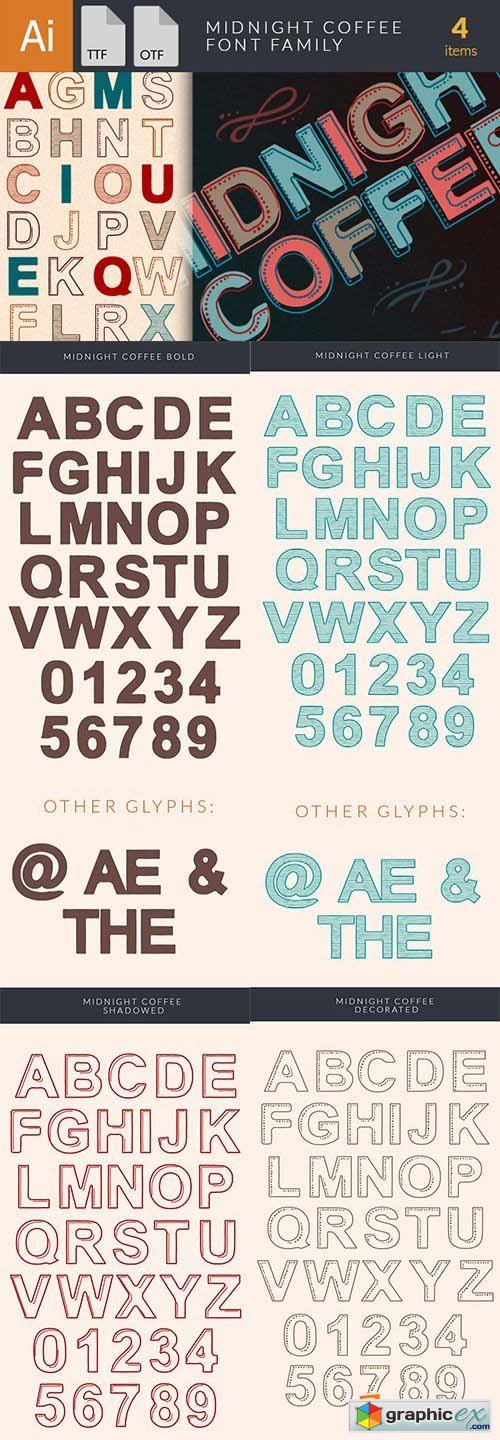 Midnight Coffee Font Family - 4 Font $30