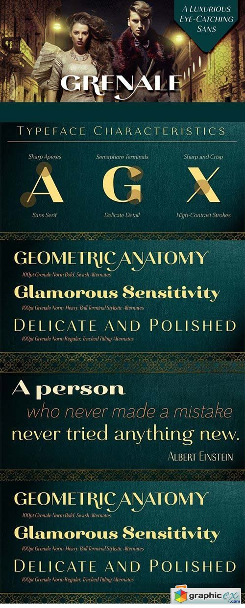 Grenale Font Family - 48 Font $1152