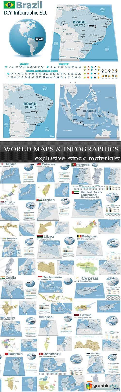 World Maps and Infographics, 25xEPS