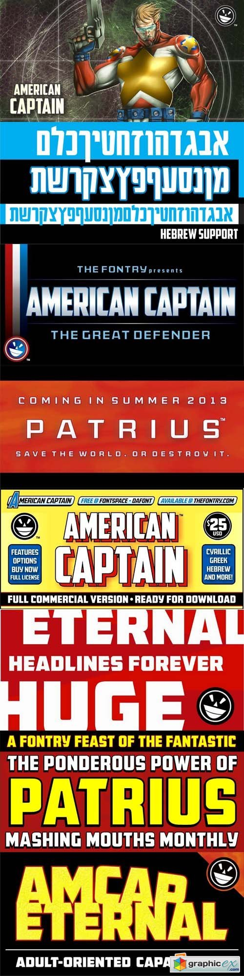 American Captain Font Family - 6 Font $150