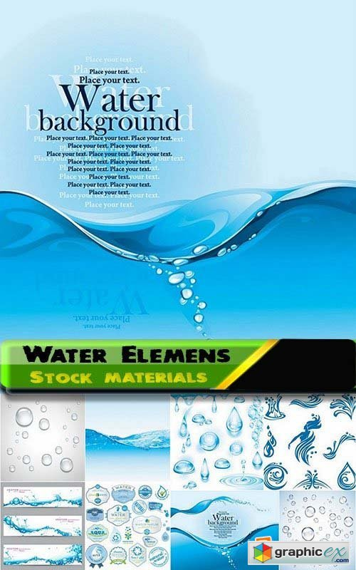 Water Elemens and Backgrounds 25xEPS
