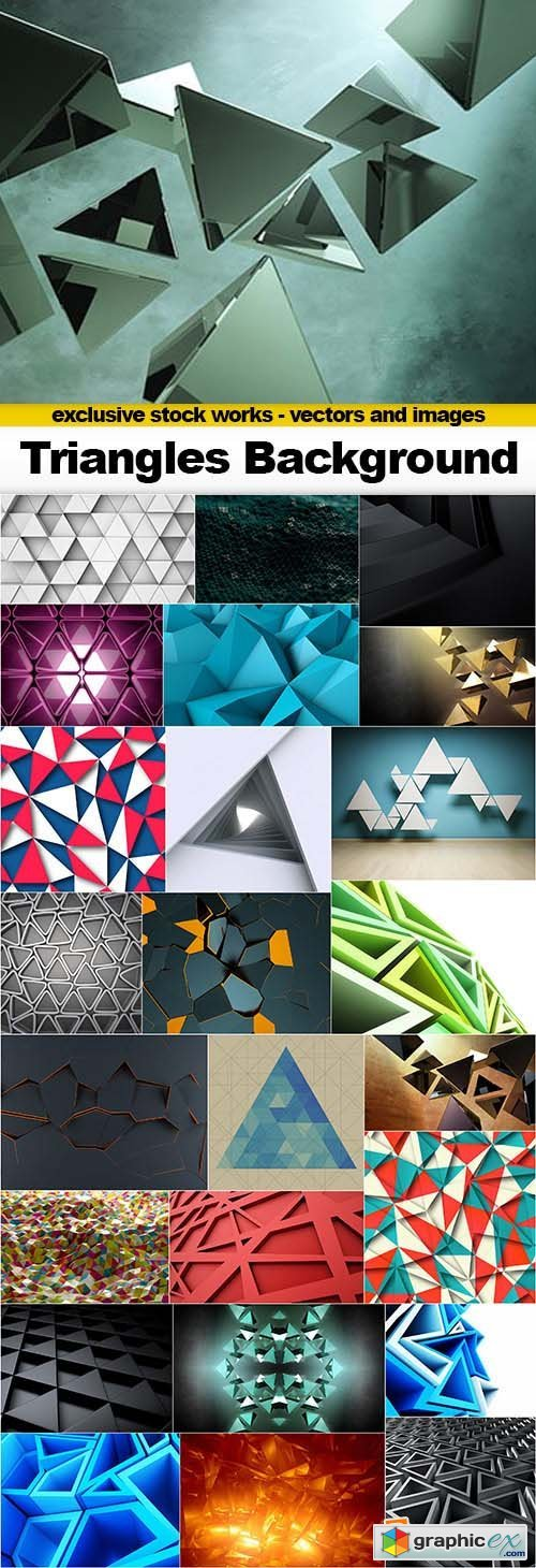 Abstract Triangle Backgrounds - 25x JPEGs