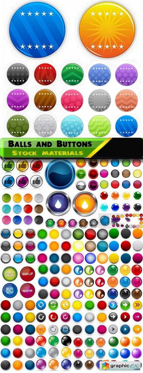 Colorful glass balls and buttons in vector 25xEPS