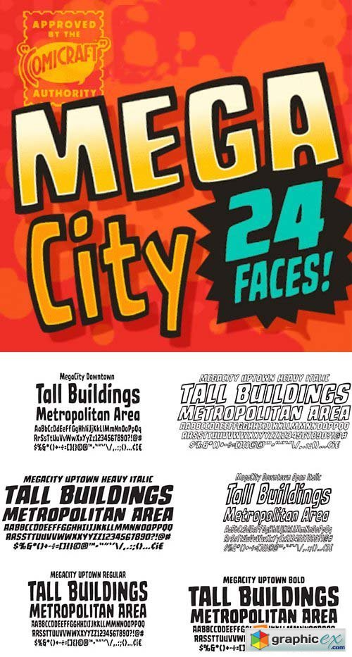 Mega City Font Family - 24 Fonts $79
