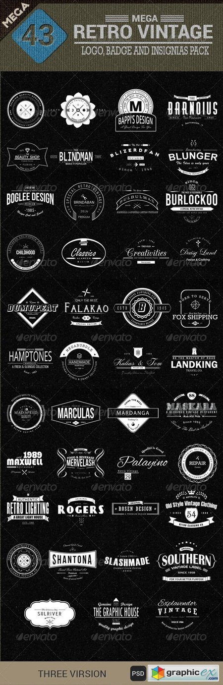 43 Mega Retro Vintage, Logo, Badge and Insignias 8234626