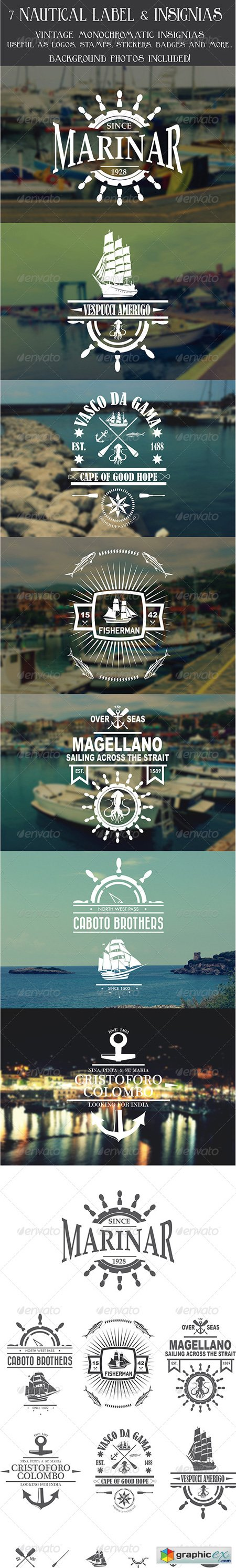 7 Vintage Nautical Insignias Logo 8070866