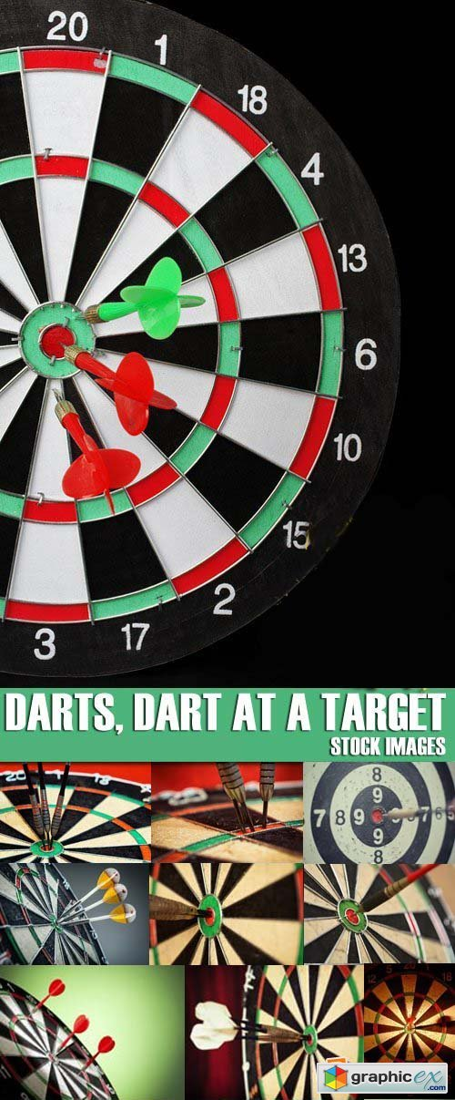 Stock Photos - Darts, Dart at a target, 25xJPG