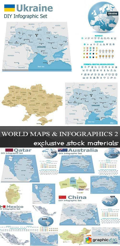 World Maps and Infographics 2, 25xEPS