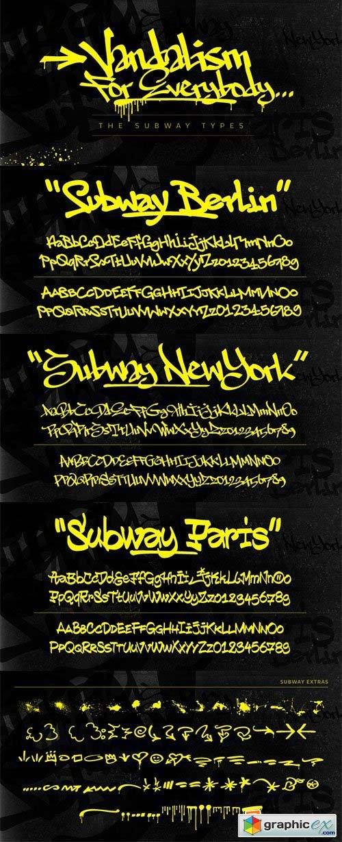 The Subway Types Font Family - 3 Font $120