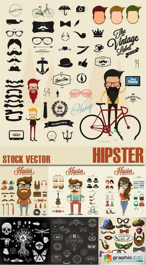 Stock Vectors - Hipster, 25xEPS