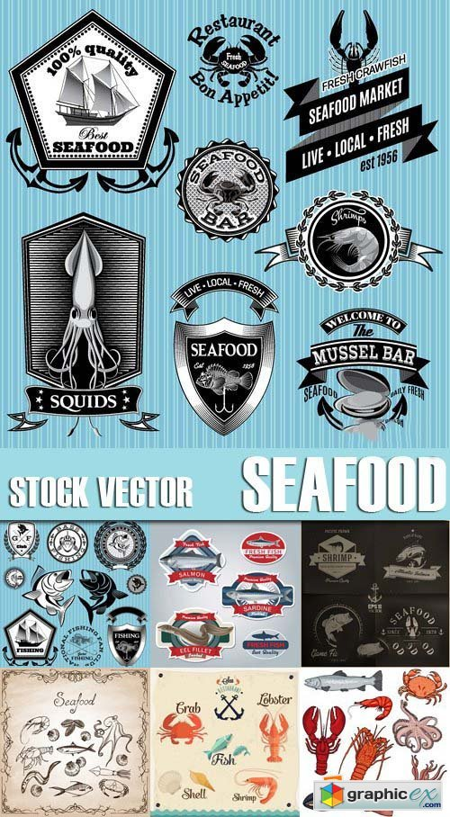 Stock Vectors - Seafood, 25xEPS