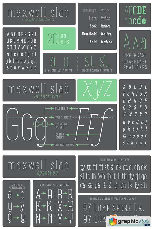 Maxwell Slab Font Family - 20 Font $240