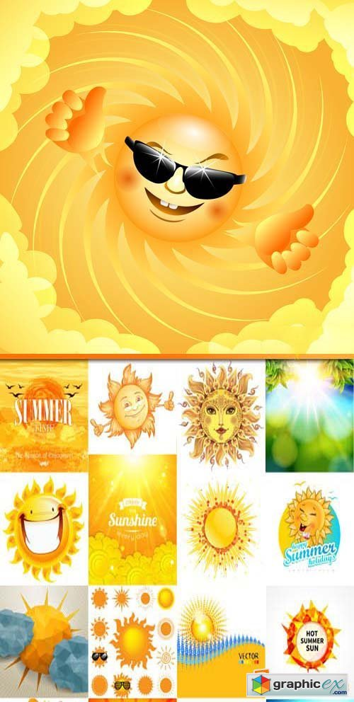 Funny smiling sun vector illustration,25xEPS