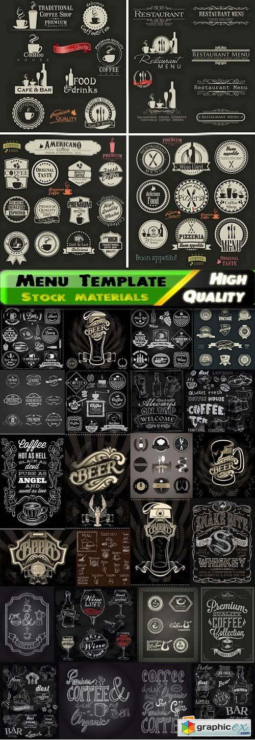Menu Template design elements in vector by stock 4 25xEPS