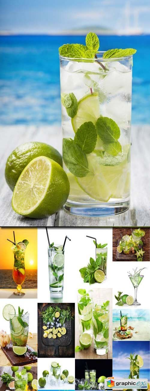 Mojito cocktail with lime and mint, 25xJPG