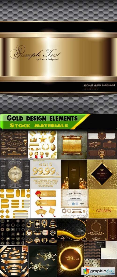 Different Gold design elements 2 25xEPS