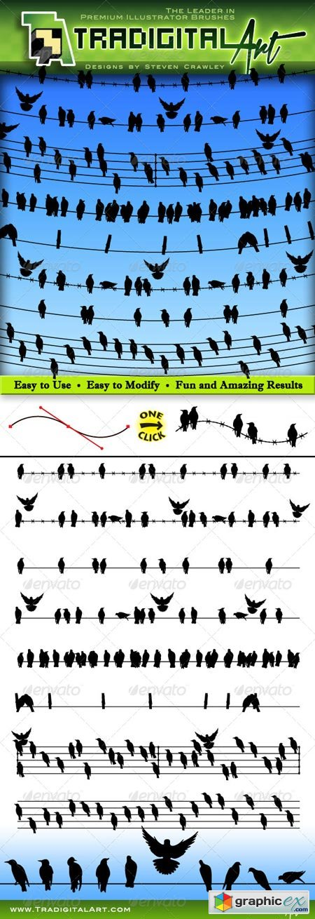 Birds on a Wire Brushes Set 8199942